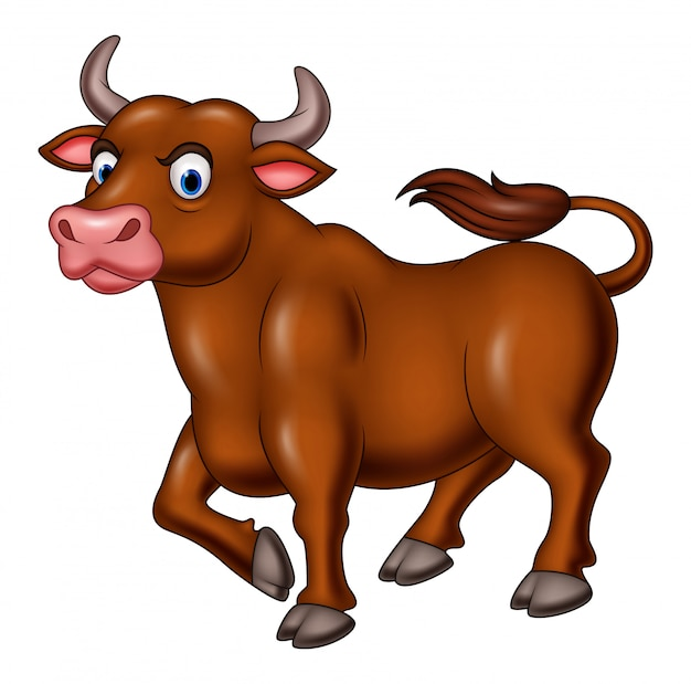 Cartoon angry bull isolated on white background