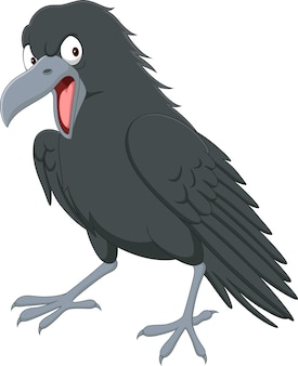 Cartoon angry crow on white background