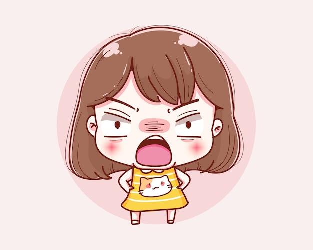 만화 화가 소녀와 캐릭터 디자인.