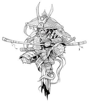 Мультяшный разгневанный персонаж короля обезьян. японский самурай в традиционных доспехах и шляпе с мечом катана и молниями. черно-белый вектор.