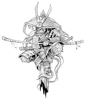 Cartoon angry monkey king character. japanese samurai in traditional armor and hat with katana sword and lightnings. black and white vector.