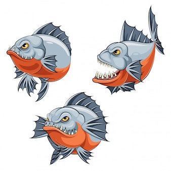 A cartoon angry piranha fish