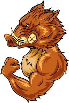 Cartoon angry wild boar mascot