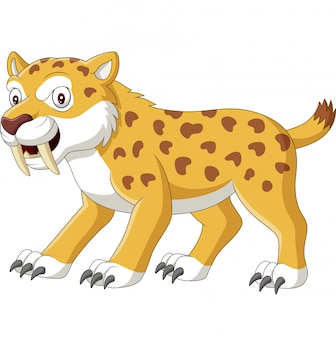Cartoon angry wildcat on white