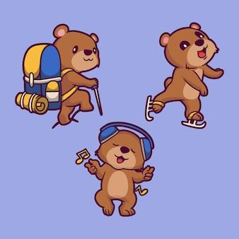 漫画の動物のクマはハイキング、スキーに行き、音楽を聴くかわいいマスコットイラスト