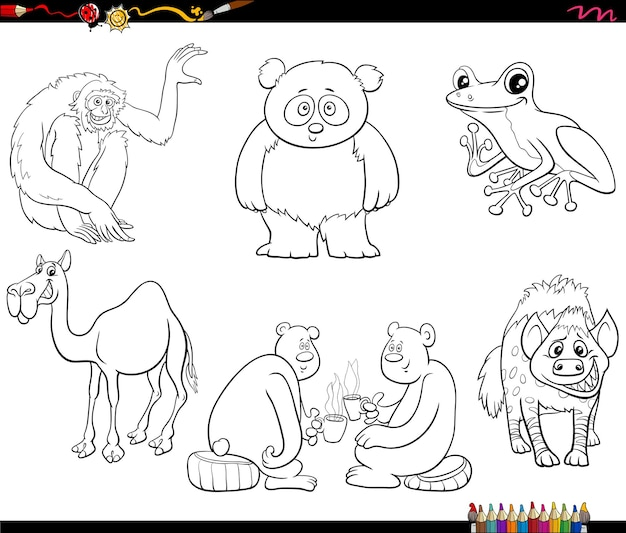 Cartoon animal characters set coloring book page