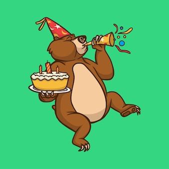Мультяшный дизайн животных медведь празднует день рождения милый талисман