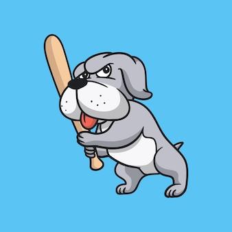 Мультфильм животных дизайн бульдог играет в бейсбол милый талисман логотип