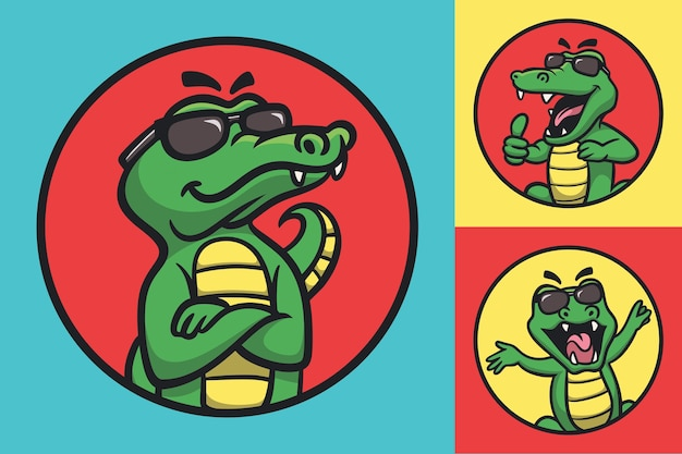 Мультфильм животных дизайн крутой крокодил в очках милый талисман иллюстрации