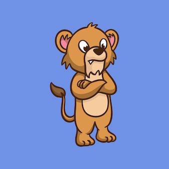 漫画の動物のデザインクールなライオンの子供たちのかわいいマスコットのロゴ