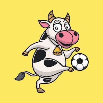 Cartoon animal design cow playing ball