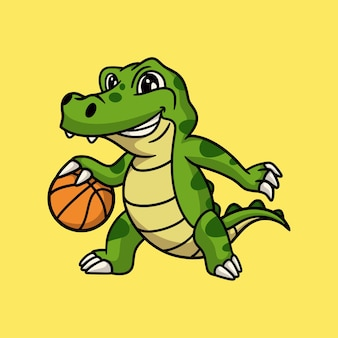 漫画の動物のデザインのワニがバスケットボールをするかわいいマスコットのロゴ