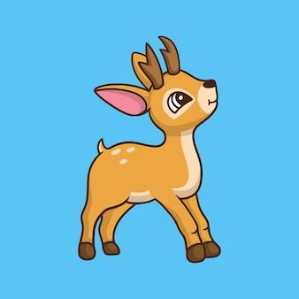 Cartoon animal design deer facing sideways cute mascot