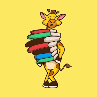 Cartoon animal design giraffe carrying a stack of books
