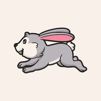 漫画の動物のデザイン幸せなウサギとホッピングかわいいマスコットのロゴ