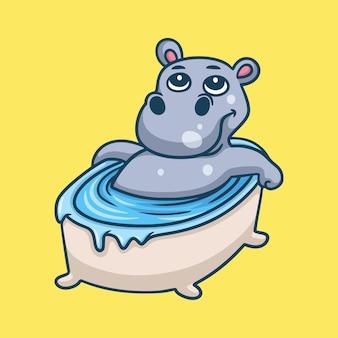 お風呂に浸る漫画の動物のデザインのカバ