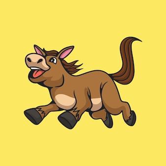 만화 동물 디자인 말 점프 귀여운 마스코트