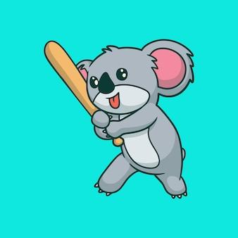 Мультяшный дизайн животных коала играет в бейсбол милый талисман логотип