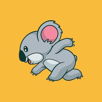 Cartoon animal design koala running cute mascot