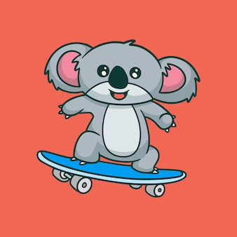 만화 동물 디자인 코알라 스케이트 보드 귀여운 마스코트 로고