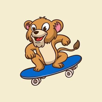 漫画の動物のデザインライオンスケートボードかわいいマスコットのロゴ