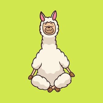 만화 동물 디자인 라마 요가 포즈 귀여운 마스코트 로고