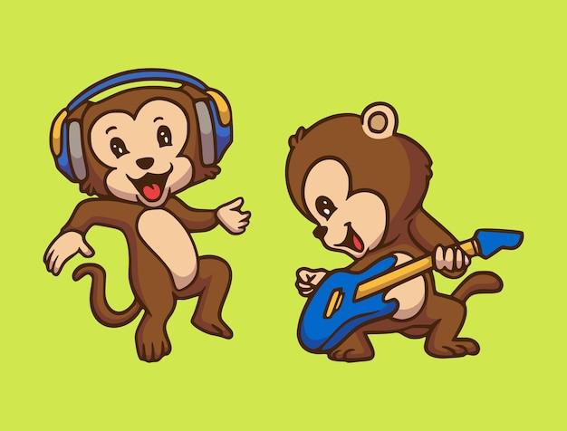 Мультяшный дизайн животных обезьяна слушает музыку и играет на гитаре милый талисман иллюстрации