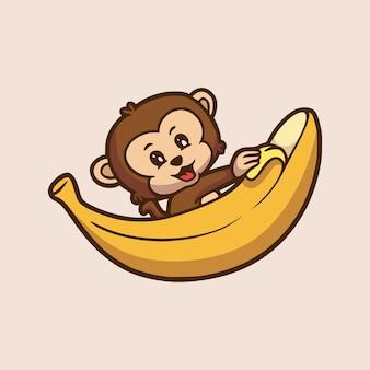 漫画の動物のデザイン猿の皮をむくバナナかわいいマスコットのロゴ