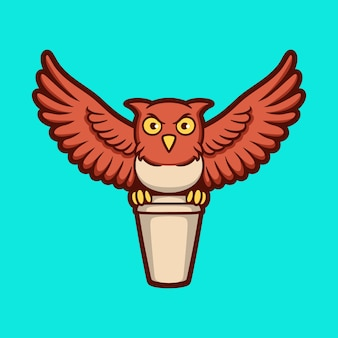 만화 동물 디자인 올빼미는 음료 컵 귀여운 마스코트 로고를 제공합니다