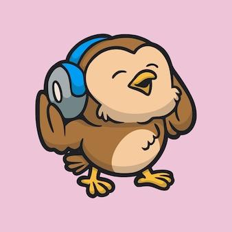 Cartoon animal design owl listening to music cute mascot logo