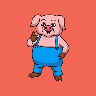 Cartoon animal design pig pose thumbs cute