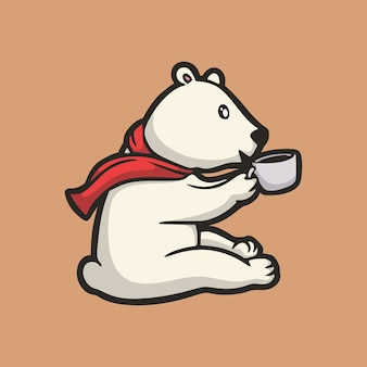漫画の動物のデザイン一杯の飲み物を保持しているホッキョクグマかわいいマスコットのロゴ