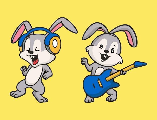 Мультяшный кролик с дизайном животных слушает музыку и играет на гитаре милый талисман иллюстрации