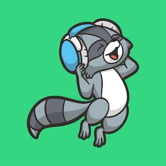 만화 동물 디자인 너구리 음악 귀여운 마스코트 로고 듣기