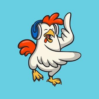 音楽を聞いている漫画の動物のデザインのオンドリかわいいマスコットのロゴ