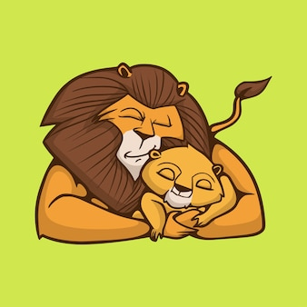 Cartoon animal design a sleeping lion hugging a little lion cute mascot logo