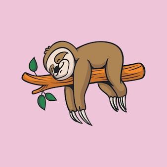 만화 동물 디자인 잠자는 나무 늘보 귀여운 마스코트 로고