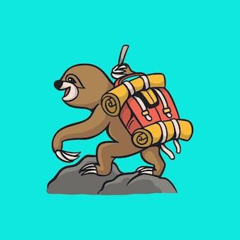 Мультфильм животных дизайн ленивец восхождение милый талисман логотип