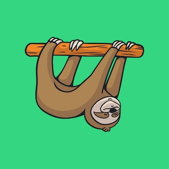 Cartoon animal design sloth hanging cute mascot