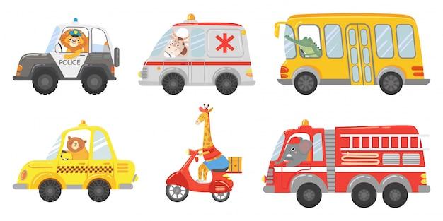 만화 동물 드라이버. 응급 구급차, 소방차 및 경찰차의 동물. 동물원 택시, 공공 버스 및 배달 트럭 벡터 세트