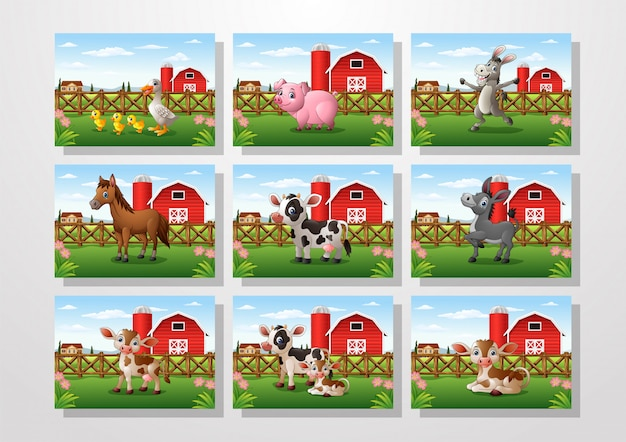 Cartoon animal in a farm background