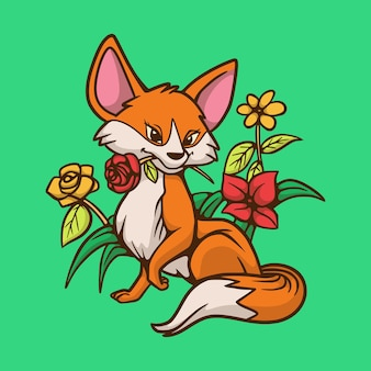 Cartoon animal  fox biting a flower cute mascot logo