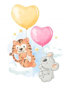 Cartoon animal friends with balloons illustration