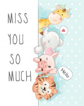 Cartoon  animal friendship on pokardot background illustration