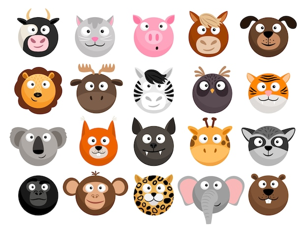 Cartoon animal heads set