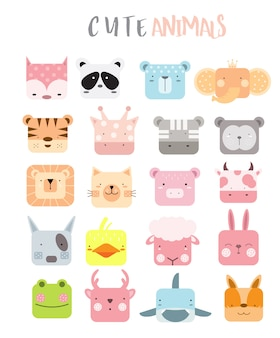 Cartoon animal icons set
