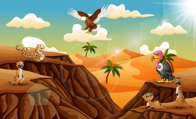 砂漠のバックグラウンドでの漫画の動物