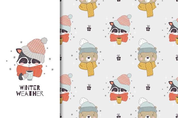 Мультяшное животное в зимней одежде в вязаной шапке и шарфе.