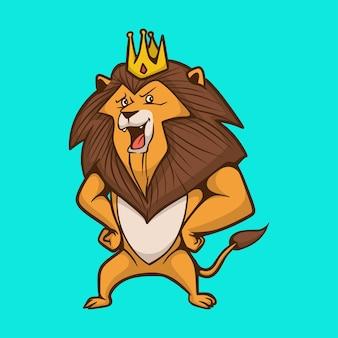 漫画の動物のライオンは、王冠のかわいいマスコットのロゴを身に着けています