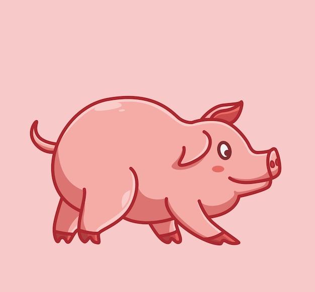 만화 동물 자연 개념 격리 된 그림입니다. 스티커 아이콘 디자인 프리미엄 로고 벡터에 적합한 플랫 스타일. 천천히 걷는 마스코트 캐릭터귀여운 돼지.